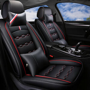 Deluxe Coffee Car Seat Cover Pu Leather Universal Front Rear Cushion W N Pillows