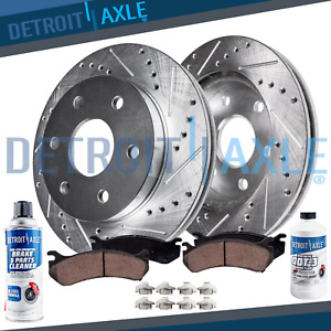 Front Rotors Brake Pads For 2000 2002 Dodge Durango Dakota Drilled Rotors
