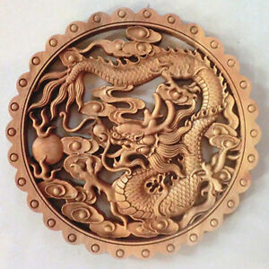 Art Chinese Hand Carved Dragon Statue Camphor Wood Plate Wall Sculpture Nr