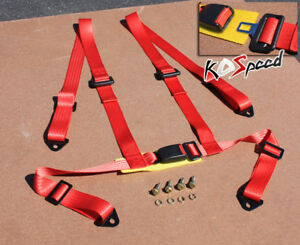 Universal 2 Strap 4 pt point Red Nylon Racing Seat Belt Buckle Harness Safety