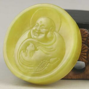 Chinese Old Natural Yellow Jade Hand Carved Buddha Pendant No D492