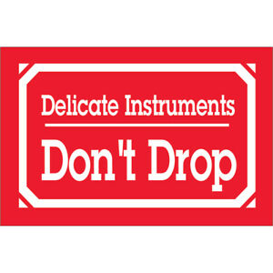Tape Logic Labels delicate Instruments Don t Drop 3 X 5 Red white 500 roll