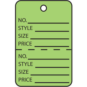 Box Partners Garment Tags Perforated 1 1 4 X 1 7 8 Green 1000 case G26013