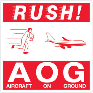 Tape Logic Labels rush Aog Aircraft On Ground 4 X 4 Red white 500 roll