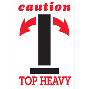 Tape Logic Labels caution Top Heavy Arrow 4 X 6 Red white black 500 roll
