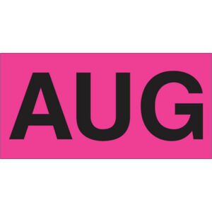 Tape Logic Months Of The Year Labels aug 3 X 6 Fluorescent Pink 500 roll
