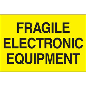 Tape Logic Labels fragile Electronic Equipment 2 X 3 Fluorescent Yellow 50