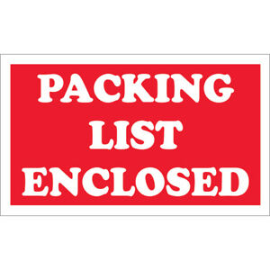 Tape Logic Labels packing List Enclosed 3 X 5 Red white 500 roll Scl538