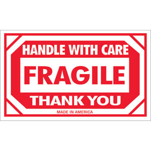 Tape Logic Labels fragile Handle With Care 3 X 5 Red white 500 roll Scl576