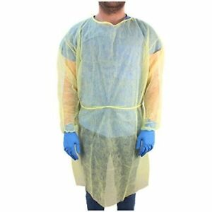 Lot Of 100 Disposable Yellow Isolation Gown Medical Cover Protection Economy