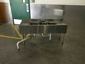 3 Three Compartment Commercial Stainless Steel Sink 60in
