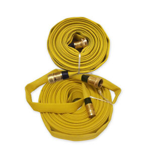 Forestry Grade Lay Flat Fire Hose With Garden Thread Yellow 250 Psi
