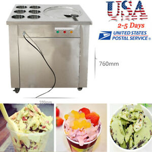 Commercial Fried Ice Cream Machine Stir Yogurt Making Ice Roll Maker 6bucket Fda