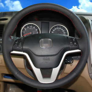Bannis Black Leather Steering Wheel Cover Wrap For Honda Crv 2007 2011
