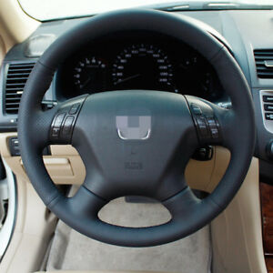 Bannis Black Leather Steering Wheel Cover Wrap For Honda Accord 7 2004 2007