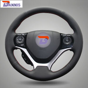Bannis Black Leather Steering Wheel Cover Wrap For Honda Civic 2012 2015