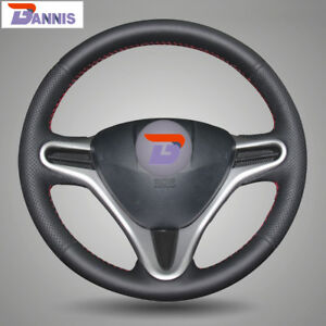 Bannis Black Leather Steering Wheel Cover For Honda Fit 2009 2013 City Jazz
