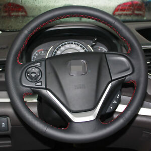 Bannis Black Leather Steering Wheel Cover For Honda Crv 2012 2015
