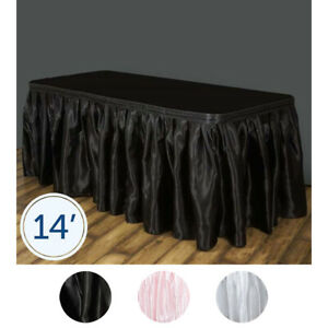 14 Feet X 29 Satin Table Skirt Party Wedding Dinner Home Decorations Wholesale