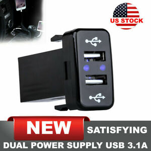 Dual Usb Charger Voltmeter Rocker Switch Suv Car Boat Blue Led 12v 3 1a Us Stock