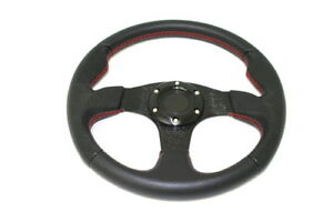 Universal Steering Wheel 350mm Black And Red 6 Bolt Jdm Style