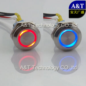Dual Led Color Red Blue 12v Illuminated Latching On Off Push Button Switch