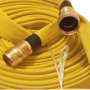 Forestry Grade Lay Flat Fire Hose 3 4in x 50 Ft Yellow 250 Psi