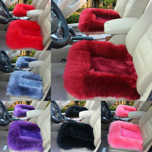Us Stock Auto Car Sheepskin Long Wool Seat Cushion Cover Soft Warm Chair Pad Set