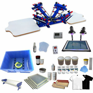 4 Color 2 Station Shirt Printing Kit Starter Hobby Materials Printer Ink Scrap