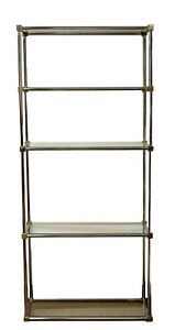 Mid Century Modern Brass Chrome Glass Shelving Unit Etagere Maison Jansen 1970s