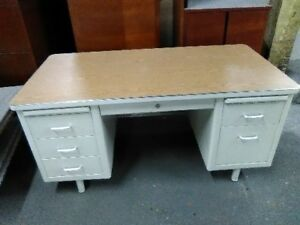 Vintage Steelcase Mid century Tan Tank Desk Tan Paint Wood Laminate Top