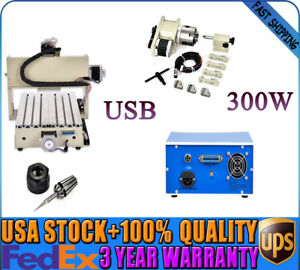 Usb Desktop 4 Axis Cnc 3020 300w Router Engraving Diy Drilling Machine Usa Top