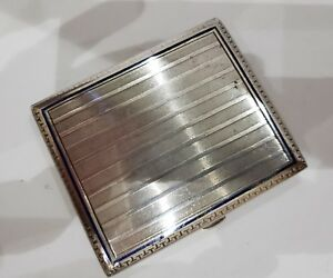 Antique Art Deco Solid Silver Cigarette Case Enamel Greek Key Decoration