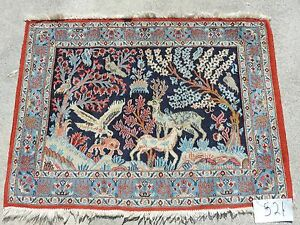 3x4ft Handmade Persian Pictoral Kashan Wool Rug