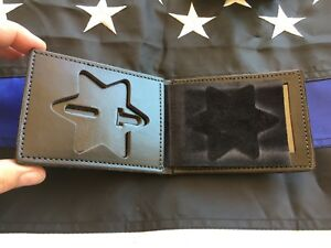 Tex Shoemaker Plain Black Leather 6 Point Star Police Badge Id Wallet Sheriff