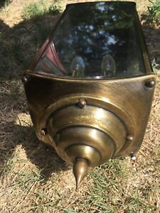 Vintage Brass Porch Sconce Wall Light 2 Lamp Mid Century Glass Panels Patio