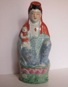 Antique Chinese Republic Period Famille Rose Kwan Yin Goddess Child Statue 9 5