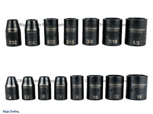 Craftsman usa 15 Pc 1 4 Dr Sae Metric Impact Socket Set 6 Pt 49139 49140
