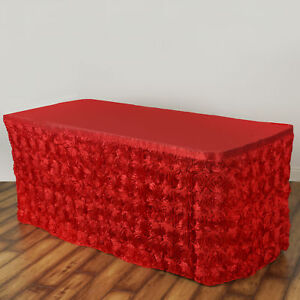 17 Red Satin Roses Table Skirt Tradeshow Wedding Party Catering Supplies Dinner