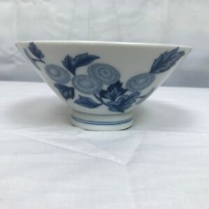 Chinese Blue And White Porcelain Bowl With Floral Design Small Chip Along Edge