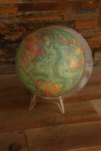 12 World Globe W Land Sea Relief By Readers Digest Repolgle Acrylic Stand