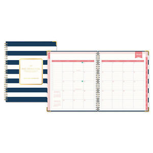 Blue Sky Day Designer Gold Corner Weekly monthly Planner 8 X 10 Navy white 2019