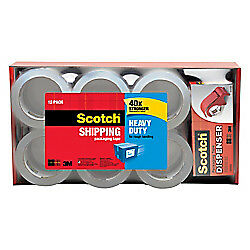 Scotch 1 88 X 54 6 Yd Heavy duty Shipping Packing Tape With Dispenser 12 pk