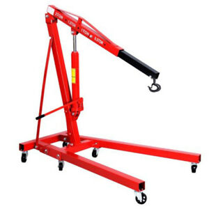 2 Ton 4400 Lb Red Color Engine Motor Hoist Cherry Picker Shop Crane Lift Alus
