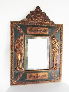 Antique Italian Mirror Nero Roman Gilded Fiddle Peacock Concubines Violin Rome