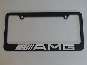 Mercedes Benz Amg License Plate Frame Glossy Black Brushed Aluminum Text