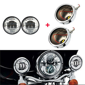 Motorcycle 4 5 Led Fog Lights Lamp Outer Cover Housing Brackets Trim For Harley