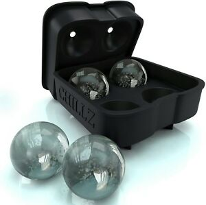 Chillz Ice Ball Maker Mold Flexible Silicone Ice Tray Molds Craft Cocktail Cubes