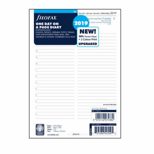 Filofax A5 Size 2019 One Day On A Page Diary With Appointments Refill 19 68515