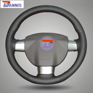 Black Leather Steering Wheel Cover Wrap For Ford Focus 2 2005 2011